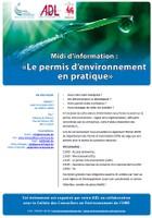 """Midi d'information : """"Le permis d'environnement en pratique"""""""