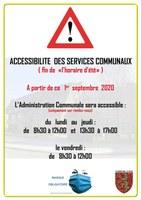 ACCESSIBILITÉ DES SERVICES COMMUNAUX PARTIR DE CE 1er SEPTEMBRE