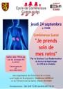 """Jeudi 24 septembre, conférence santé:"""" je prends soin de mes reins"""""""